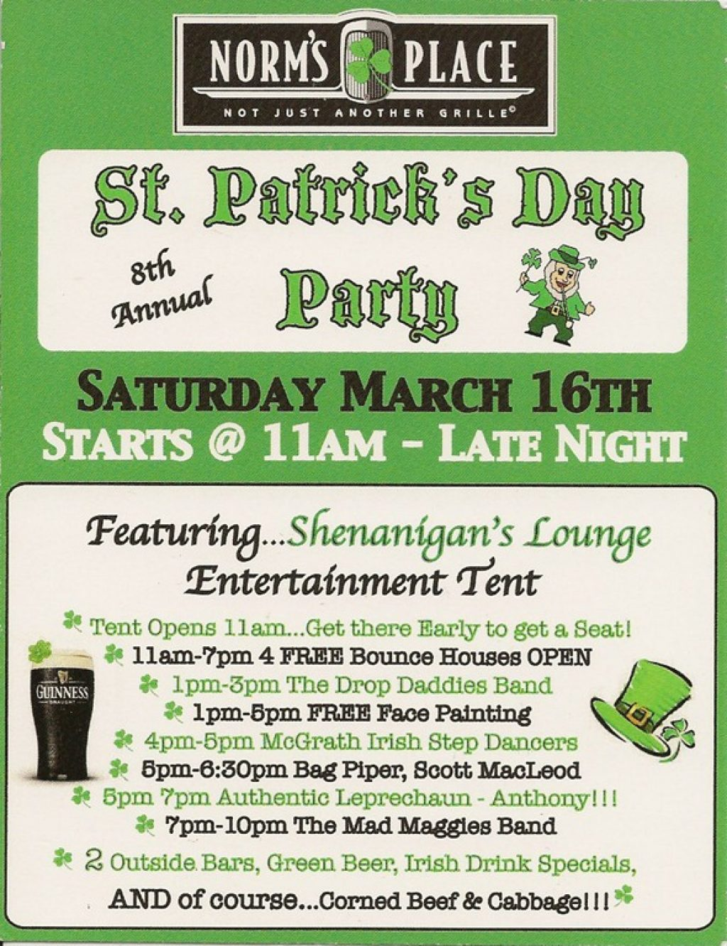 St Patricks Day at Norms