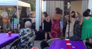 The ladies dancing to Mony Mony