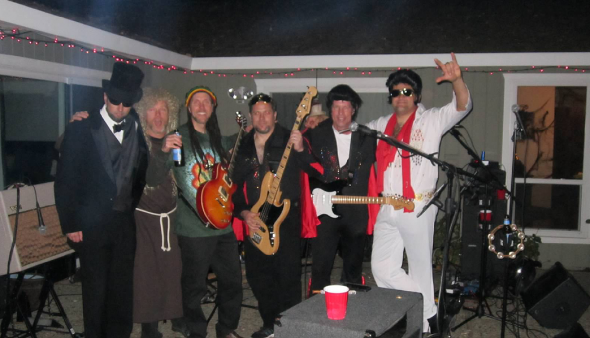 The Drop Daddies as Abe, Jesus, Bob, and 3 Elvises