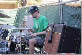 Ian rockin the kit between two Vox amps