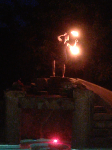 Fire dancer above the grotto